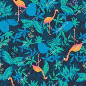 Фотообои Оранжевые фламинго