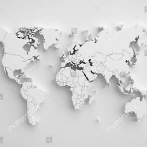 Фотообои 3D Карта мира белая