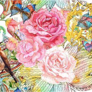 Фотообои Нарисованные розы и соловей