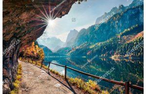 Фотообои Горная тропинка над озером
