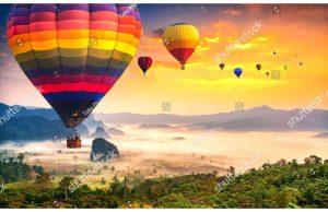 Фотообои Воздушные шары над лесом