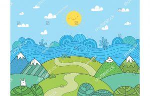 Фотообои Нарисованный детский пейзаж
