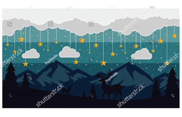 Фотообои Звёздочки над горами