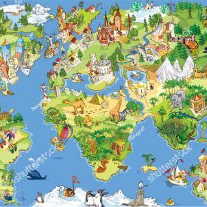 Фотообои Карта мира с нарисованными зверями