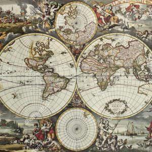 Фотообои Фреска карта мира