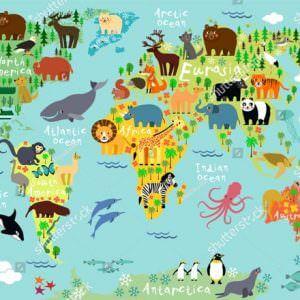 Фотообои Красочная карта мира для детей