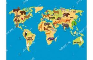 Фотообои Карта мира со зверями