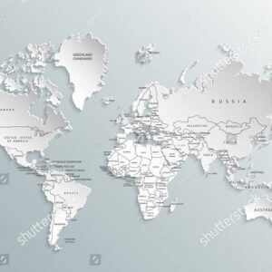 Фотообои Белая рельефная карта мира