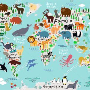 Фотообои Карта с яркими зверями