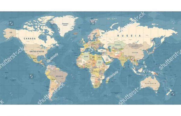 Фотообои Карта с прямыми меридианами