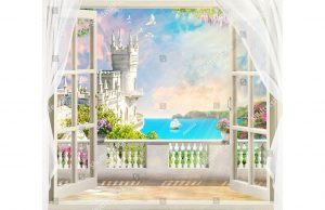 Фотообои Вид из окна на замок