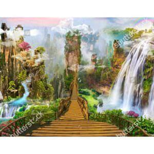 Фотообои Мостик сквозь водопады