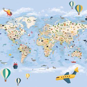 Фотообои Карта мира на русском синяя