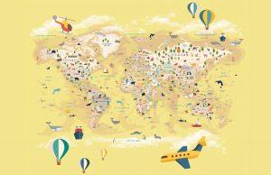 Фотообои Карта мира на русском жёлтая