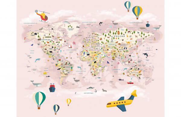 Фотообои Карта мира на русском розовая
