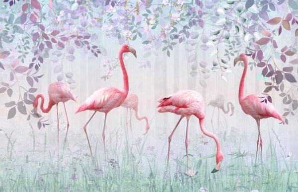 Фотообои Фламинго в листве