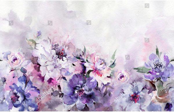 Фотообои Фиолетовые акварельные цветы