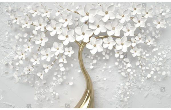 Фотообои Цветы с жемчугом