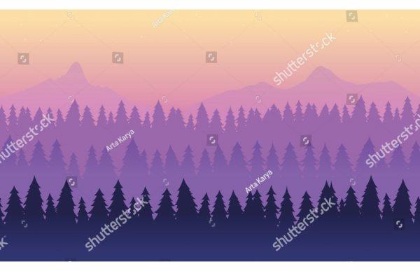 Фотообои Горизонт лес и горы (сканди в фиолетовом)
