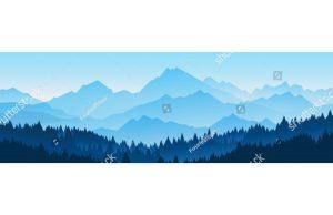 Фотообои Горизонт лес и горы (сканди в голубом)