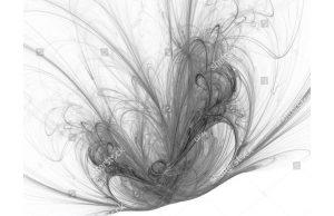 Фотообои Черно-белая фракталь на белом