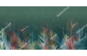 Фотообои Нежные радужные перья