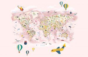 Фотообои Детская карта для девочки