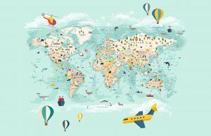 Фотообои Карта мира на русском бирюзовая