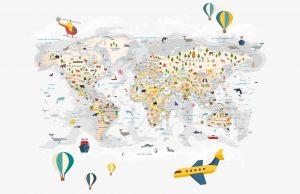 Фотообои Карта мира на русском светлая