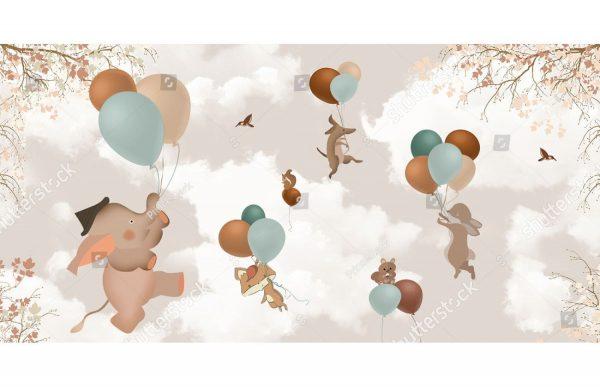 Фотообои Катание на воздушных шариках