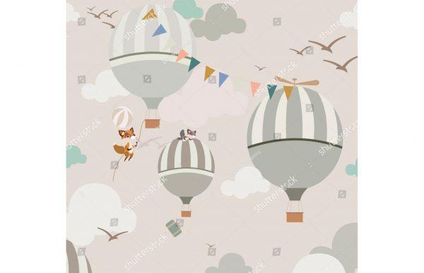 Фотообои Лисички на воздушных шарах