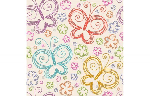 Фотообои Нарисованные бабочки