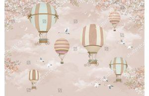 Фотообои Аэростаты на розовом небе