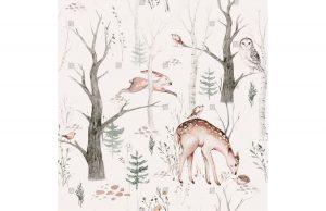 Фотообои Лесные животные акварель