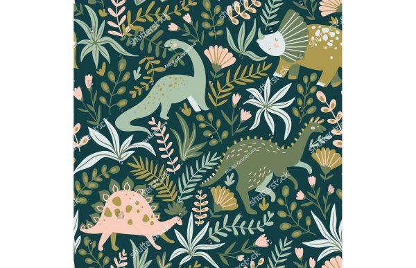 Фотообои Динозавры в листьях
