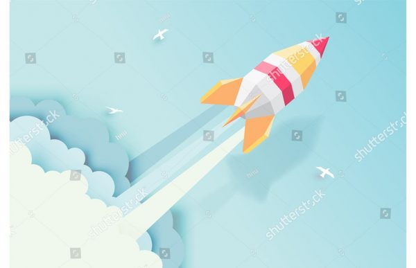 Фотообои Бумажная ракета