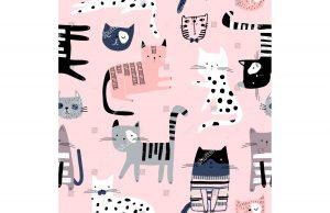 Фотообои Кошки на розовом