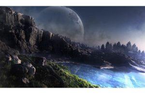 Фотообои Большая луна над озером