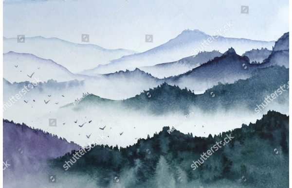 Фотообои Акварельный лес в тумане