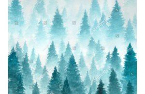 Фотообои Нарисованные ели в тумане