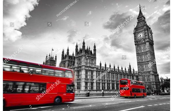 Фотообои Красный автобус и Бигбен (чб)