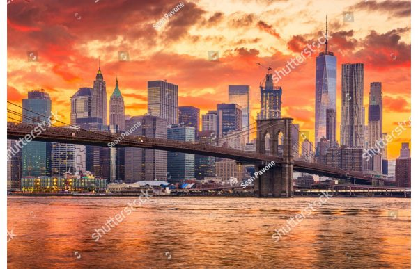 Фотообои Бруклинский мост и вид на Манхеттен