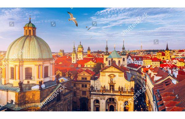 Фотообои Утреннее небо над старой Прагой