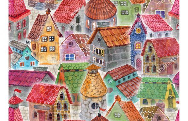 Фотообои Разноцветные крыши домов