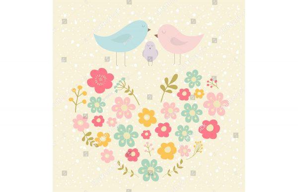 Фотообои Птички на цветочном сердечке