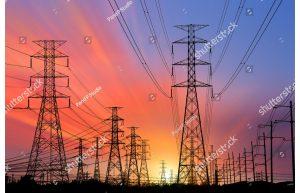 Фотообои Линия электропередачи в закате