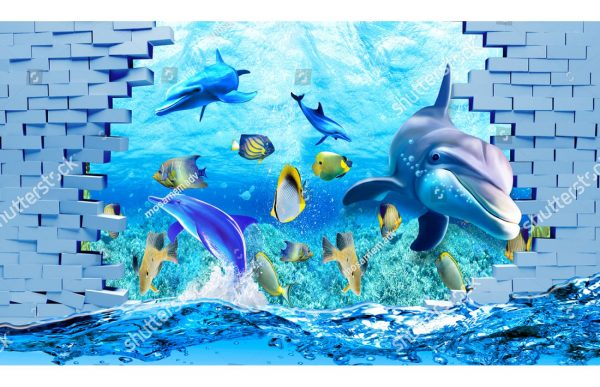 Фотообои Водный мир сквозь стену