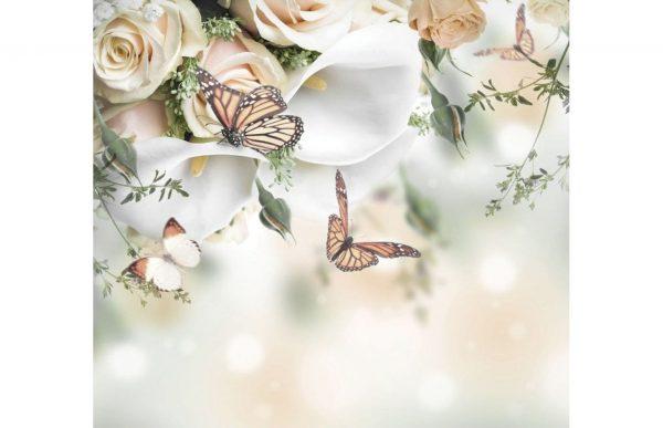 Фотообои Розы и бабочки