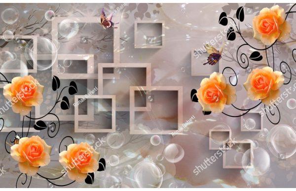 Фотообои Оранжевые розы и квадраты