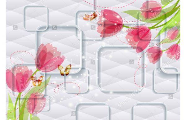 Фотообои Квадраты тюльпаны и бабочки